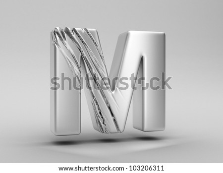 scratched glossy metal 3d letter m WITH ALPHA CHANNEL - stock photo