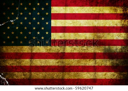 Scratched grunge and burned flag of America - stock photo
