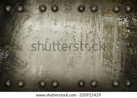 scratched metal plate background - stock photo