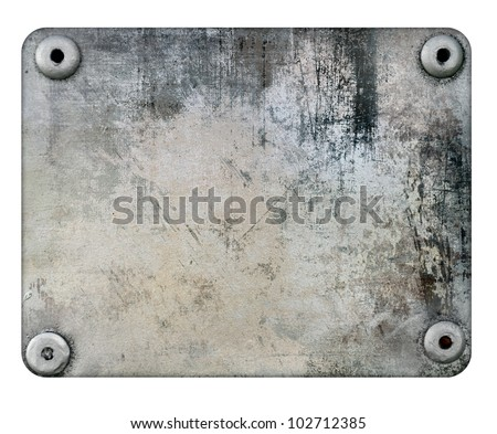 Scratched metal plate isolated on white background - stock photo