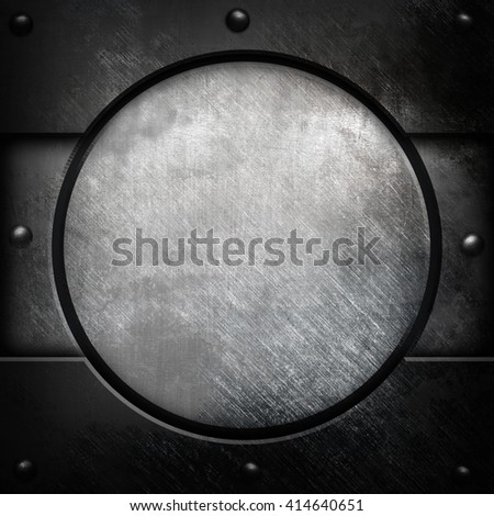 scratched metal with round pattern background - stock photo