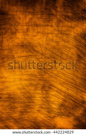 Scratched plastered wall in bright orange color. - stock photo