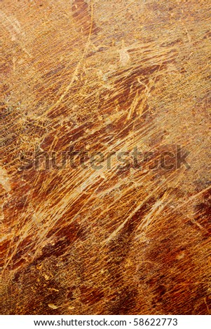 Scratched veneer surface. Abstract grunge wood background. - stock photo