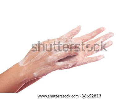 Scratching palm with finger nails and soap, part of the steps to prevent spread of influenza