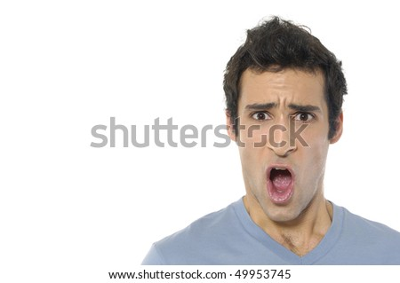 Scream of shocked and scared young man - stock photo