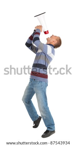 screamimg young man holding megaphone, white background - stock photo