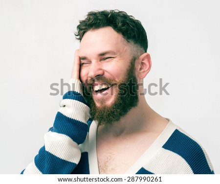 Screaming beard man portrait