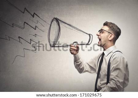 Screaming Businessman - stock photo