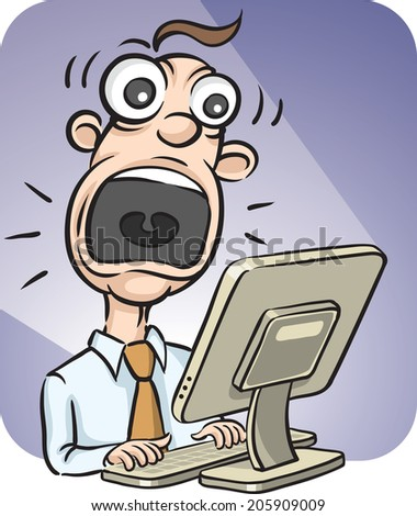 screaming businessman and desktop computer - stock photo