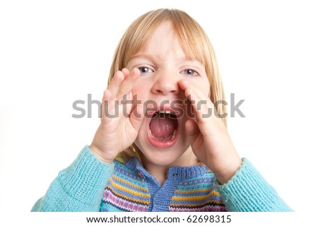 screaming child, kid yell or shout in anger isolated on white - stock photo