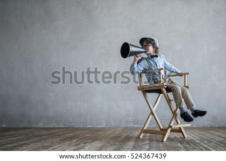 Screaming director with a megaphone