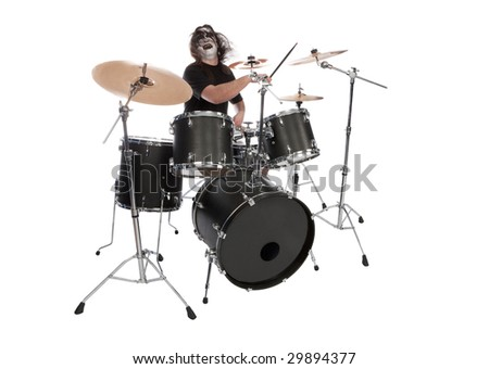 Screaming drummer with scenic makeup - stock photo