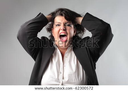 Screaming fat businesswoman - stock photo
