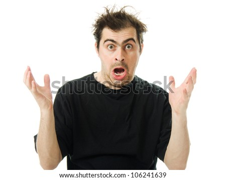 Screaming from despair a man on a white background. - stock photo