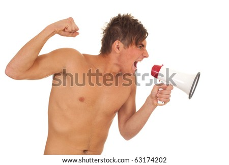 screaming furious shirtless young man with megaphone, isolated - stock photo