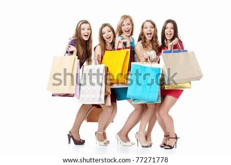 Screaming girls in dresses with shopping - stock photo