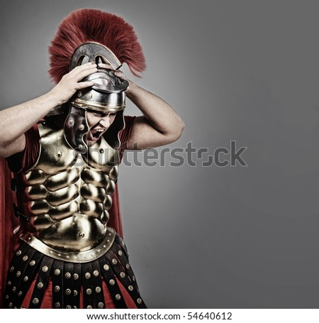 Screaming legionary soldier - stock photo