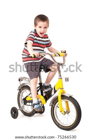Screaming little boy on bike isolated on white