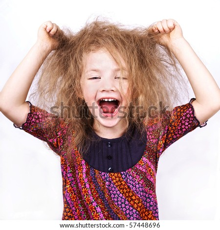 screaming little funny girl - stock photo