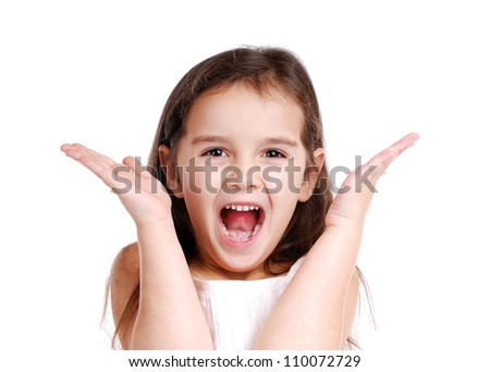 Screaming little girl - stock photo