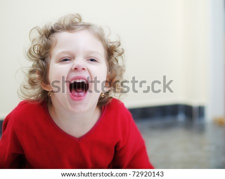 Screaming little girl - stock photo