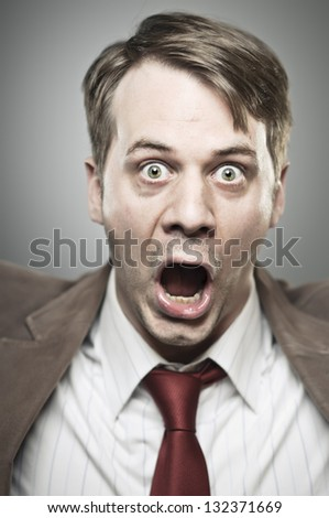 Screaming Man Portrait - stock photo