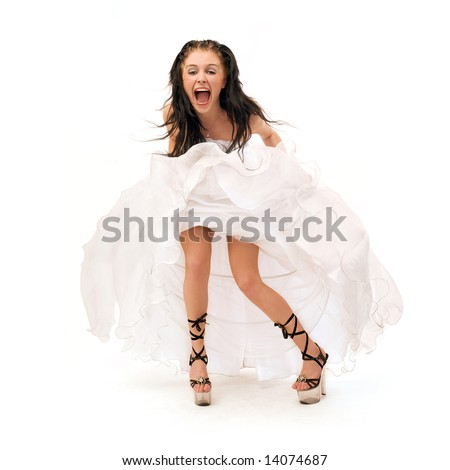 screaming sexy bride isolated on white background - stock photo