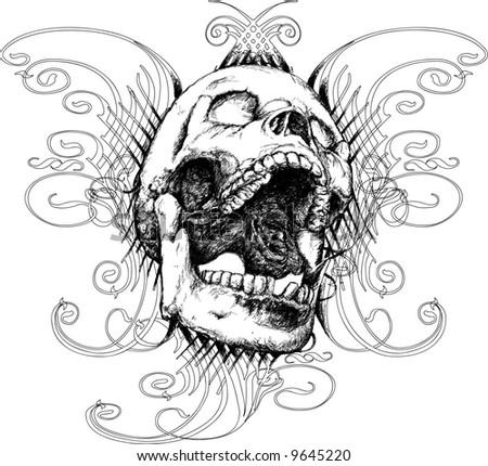 Screaming skull illustration - stock photo