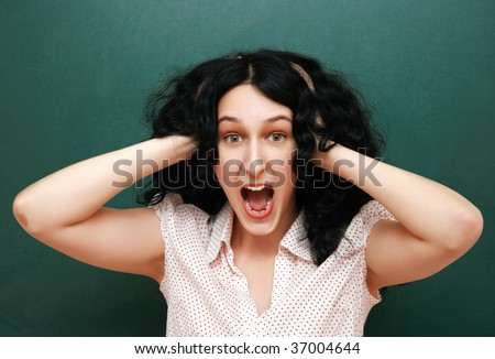 Screaming student - stock photo