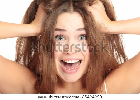 Screaming woman. Isolated over white background. - stock photo