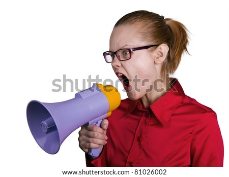 Screaming woman with megaphone. White background - stock photo