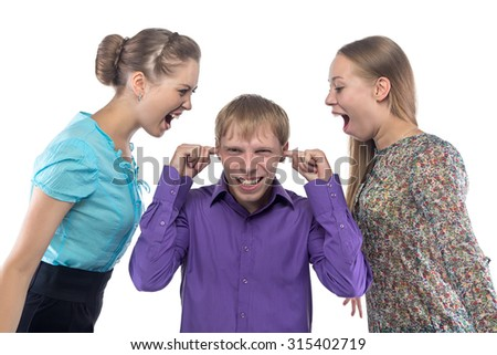 Screaming women and blond man on white background
