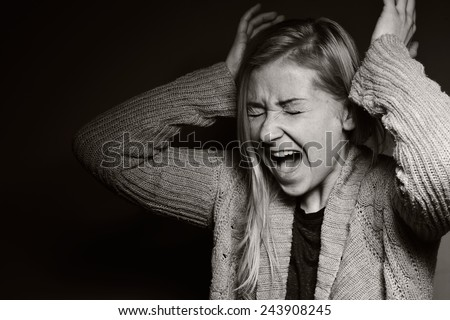 Screaming women. Pain and panic. MANY OTHER PHOTOS FROM THIS SERIES IN MY PORTFOLIO. - stock photo