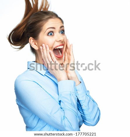 Screaming young beautiful business woman blue shirt dressed. White background. Isolated.