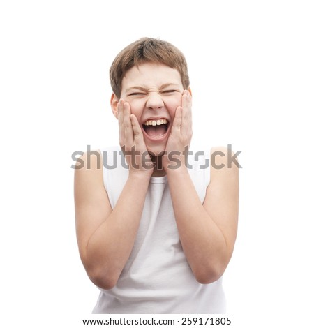 Screaming young boy in a sleeveless white shirt putting on an after shave lotion, composition isolated over the white background - stock photo