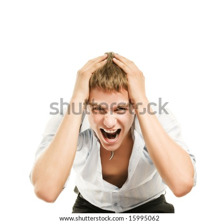 Screaming young handsome man isolated on white background - stock photo
