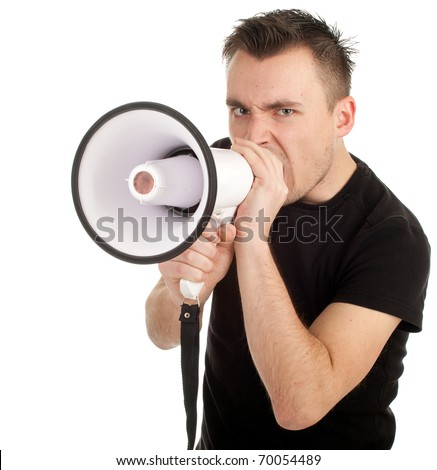 screaming young man in black shirt with megaphone - stock photo