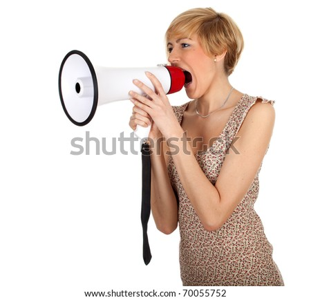 screaming young woman in bright dress with megaphone
