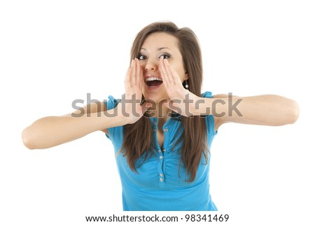 screaming young woman with hands near face, white background