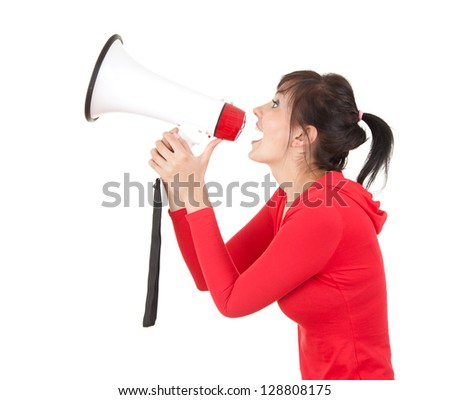 screaming young woman with megaphone, white background - stock photo