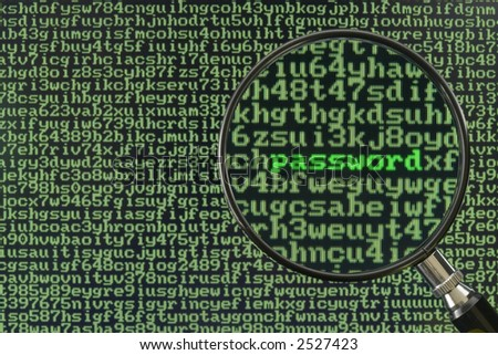 Screen full of alphanumerics depicting encryption and the word password emphasized by a magnifying glass - stock photo