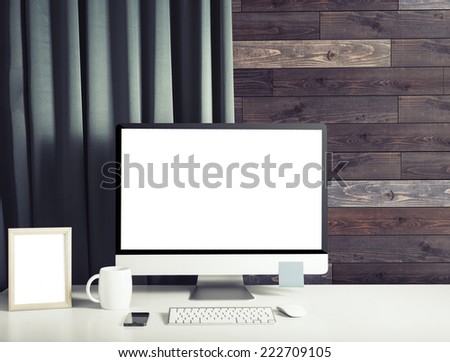 Screen in room - stock photo