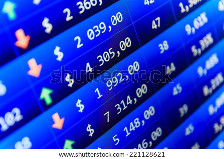 Screen live display. Sale of stock exchanges. Ticker board. Currency exchange forex trade screen data concept. Data analyzing in forex market. Business stock exchange. Stock exchange market business. - stock photo