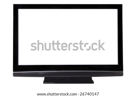 Screen of big plasma TV. Isolated on white with clipping paths. - stock photo