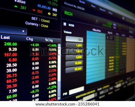 screen of financial activities on the monitor of a computer - stock photo