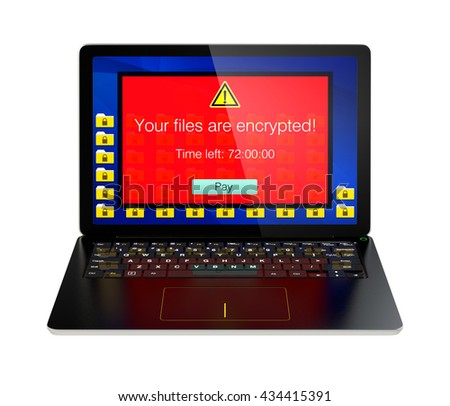 Screen of laptop computer showing alert that the computer was attacked by ransomware. 3D rendering image with clipping path. - stock photo