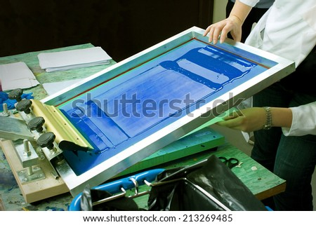 Screen Print With Blue Ink - stock photo
