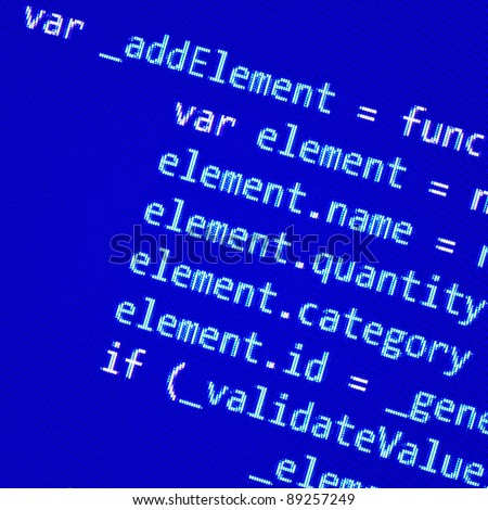 Screen with JavaScript code - stock photo