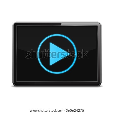 Screen with play button