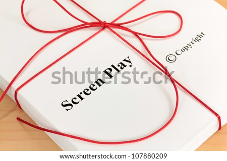 Screenplay Manuscript by Author ready for Proofreading Closeup - stock photo
